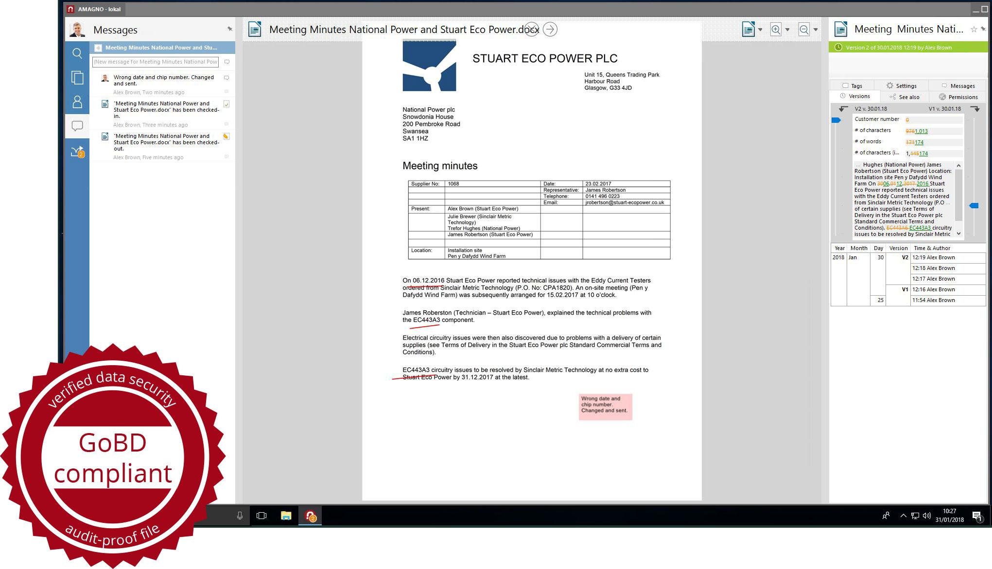 Versions GoBD - Audit security with ECM